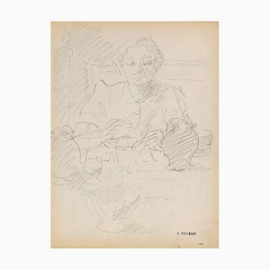 Retrato de Serge Fontinsky, Lápiz, Mid-20th Century