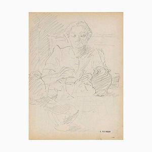 Serge Fontinsky, Portrait, Pencil, Mid-20th Century