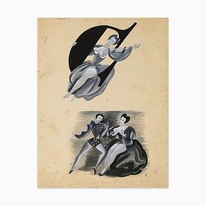 Louis Touchagues, Figuren, Gemischte Medien Zeichnung, Mitte 20. Jahrhundert