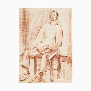 Inconnu, Portrait d'Homme, Dessin sur Papier, Moyen-20ème Siècle