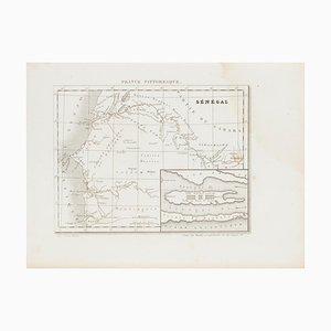 Mapa de Senegal antiguo desconocido, Aguafuerte, siglo XIX