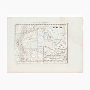 Unknown, Ancient Map of Senegal, Etching, 19th Century