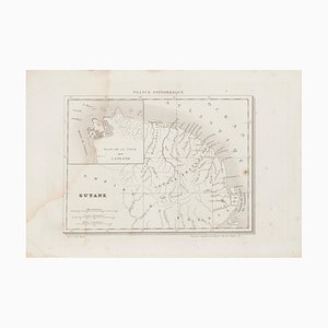 Mapa de Guyane, grabado antiguo desconocido, siglo XIX