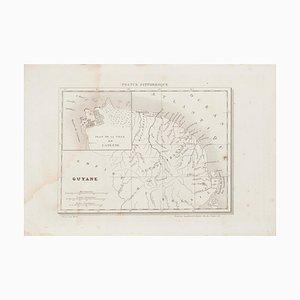 Unknown, Ancient Map of Guyane, Radierung, 19. Jahrhundert