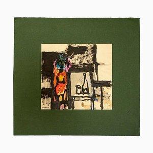 Sergio Barletta, Still Life and Figure, tinta, temperamento y acuarela, 1952
