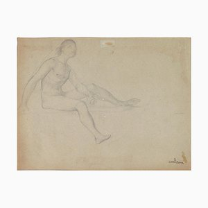 Lionel Royer Christmas, Sitting With Veilage Corp, Pencil Christmas, 1900s