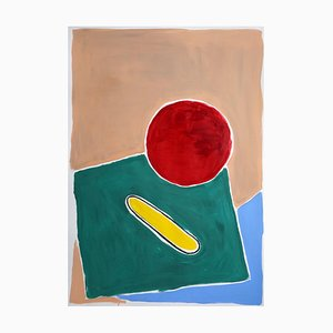 Natalia Roman, Still Life in Primary Colors, Naïf Architectural Landscape, Pool in Red and Green, 2021