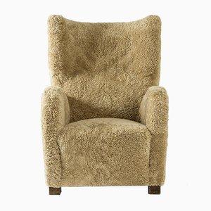 Swedish Sheepskin Lounge Chair, 1930s
