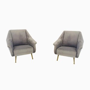 Mid-Century Velvet and Brass Legged Chair by Marco Zannuso