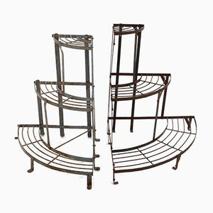 Three-Tier French Corner Plant Stands, Set of 2