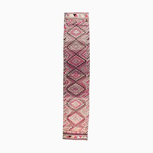 3x13 Vintage Turkish Oushak Purple Hand-knotted Wool Runner