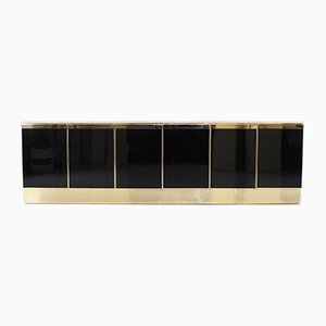 Large Brass and Travertine Sideboard