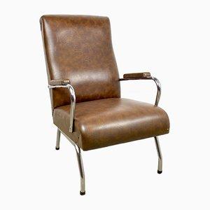 Brown Leather Armchair with Chrome Frame