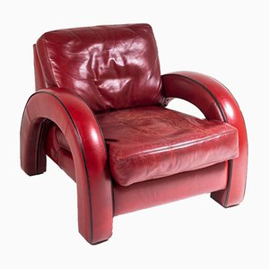 Art Deco Red Leather Armchair