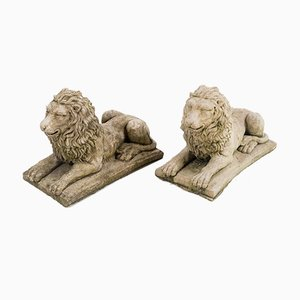 Small Recumbent Lions, Set of 2