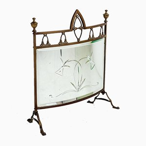 Edwardian Brass Finial Fire Screen