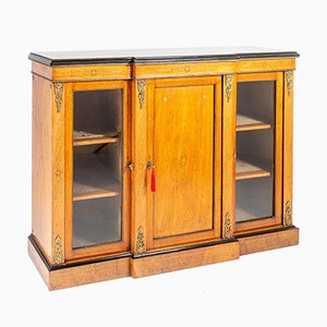 Walnut and Boxwood Inlay Breakfront Cabinet