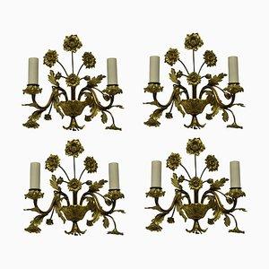 Gilt Bronze Flower Wall Lamps, 1930s, Set of 4