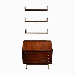 Rosewood Secretaire & Shelves, 1960s, Set of 2