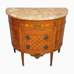 Louis XVI Style Half-Moon Chest of Drawers with Square & Floral Marquetry