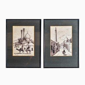 1954 Pen & Ink by R A Hayrapetian Tehran – Pair