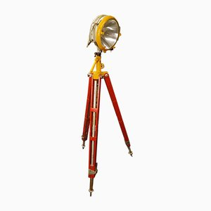 Mid-Century Industrial Tripod Halogen Loft Floor Lamp with Searchlight