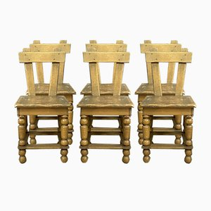 Brutalist Oak Dining Chairs with Blond Patina, 1950s, Set of 6