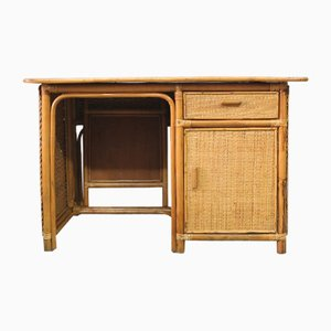 Mid-Century Italian Bamboo, Rattan & Teak Desk, 1960s
