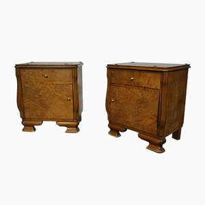 Burr Wood Chest of Drawers, 1950s, Set of 2