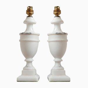 Lampade da tavolo vintage in marmo bianco, Regno Unito, set di 2