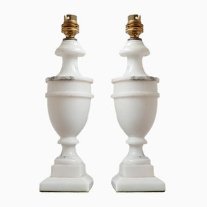 Vintage English White Marble Table Lamps, Set of 2