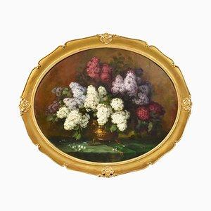 Blumen, Flieder, Öl auf Leinwand