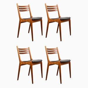 Danish Teak & Leatherette Chairs by Henning Kjærnulf for Korup Stolefabrik, 1960s, Set of 4