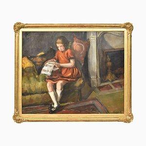 Little Girl Reading, Ölgemälde, Frühes 20. Jahrhundert