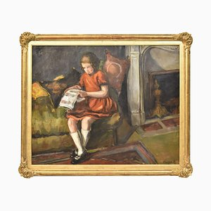 Little Girl Reading, Oil Painting, Early 20th Century
