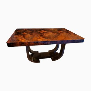 French Art Deco Extendable Burr Walnut Dining Table, 1930s