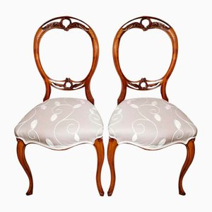 English Victorian Walnut Balloon Back Dining Chairs, Set of 2
