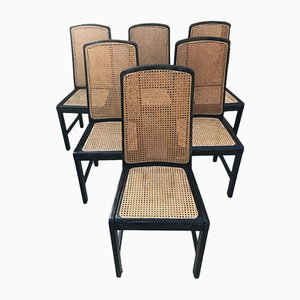 Italian Cane Chairs, 1980s, Set of 6