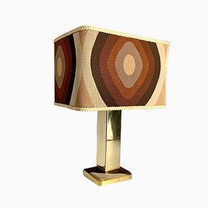 Lampada da tavolo con base placcata in oro e paralume originale, anni '60