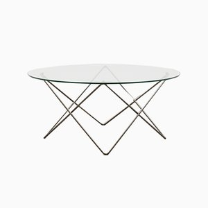 Table Basse Vintage en Fils de Fer & Verre, 1980s