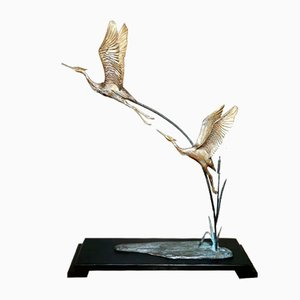 Art Deco Gilded Bronze Herons on Wood Base, France, Set of 2