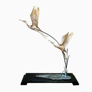Garzas Art Déco de bronce dorado con base de madera, France. Juego de 2