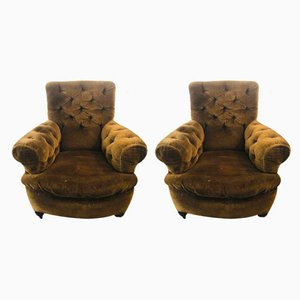 Antique Victorian Button Back Armchairs, Set of 2
