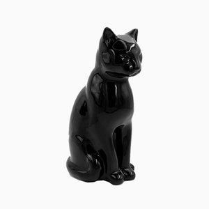 Escultura de cerámica de gato negro, años 70