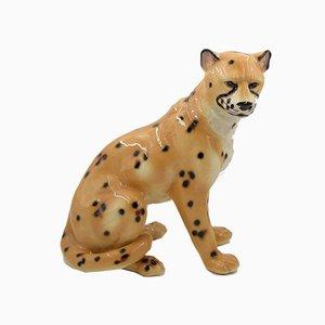 Escultura de guepardo italiana de cerámica, años 70
