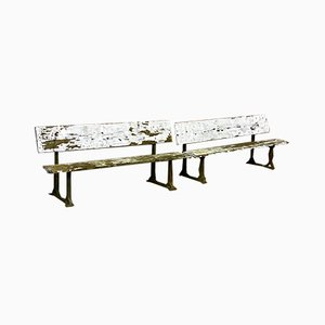 Antique Victorian School Benches, Set of 2