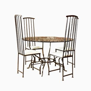 Vintage Bespoke Wrought Iron Blacksmith Dining Chairs & Table Set with Beveled Edge Glass Top, Set of 5