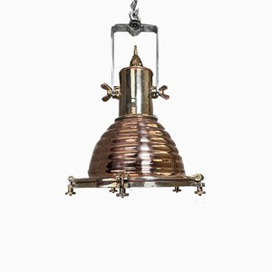 Vintage German Industrial Copper & Brass Ceiling Lamp from Wiska, 1970s