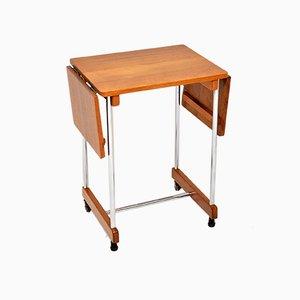 Oak and Chrome Drop Leaf Side Table, 1950s