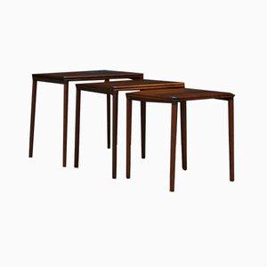 Tavolini ad incastro in palissandro, anni '70, set di 3